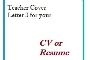 Teacher Cover Letter 3 for your CV or Resume