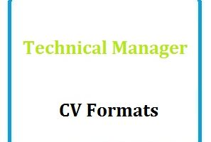 Technical Manager CV Formats
