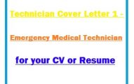 Technician Cover Letter 1 - Emergency Medical Technician for your CV or Resume