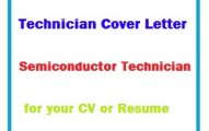 Technician Cover Letter - Semiconductor Technician for your CV or Resume