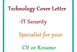 Technology Cover Letter - IT Security Specialist for your CV or Resume