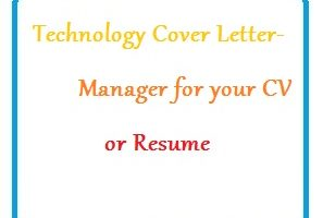 Technology Cover Letter - Manager for your CV or Resume