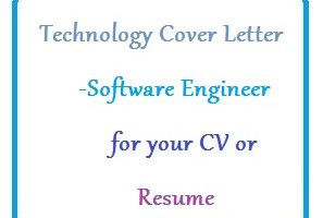 Technology Cover Letter - Software Engineer for your CV or Resume