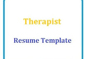 Therapist Resume Template
