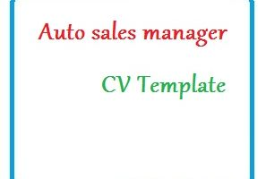 Auto sales manager CV Template