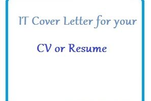 IT Cover Letter for your CV or Resume