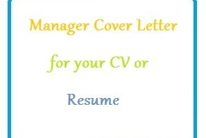 Manager Cover Letter for your CV or Resume
