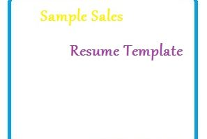 Sample Sales Resume Template