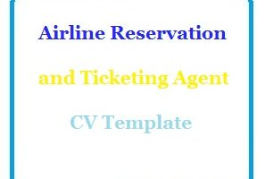 Airline Reservation and Ticketing Agent CV Template
