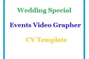 Wedding Special Events Video Grapher CV Template