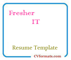 Fresher IT Resume Template