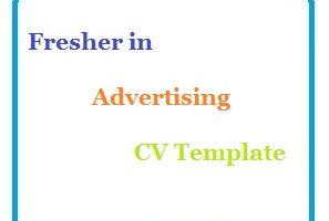 Fresher in Advertising CV Template