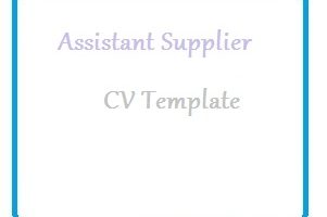 Assistant Supplier CV Template