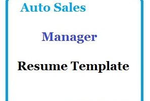 Auto Sales Manager Resume Template