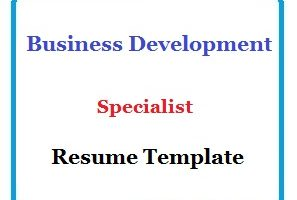 Business Development Specialist Resume Template