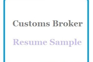 Customs Broker Resume Sample
