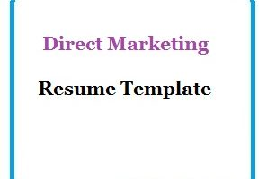 Direct Marketing Resume Template