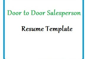 Door to Door Salesperson Resume Template