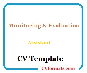 Monitoring & Evaluation Assistant CV Template