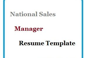 National Sales Manager Resume Template