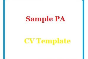 Sample PA CV Template
