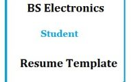 BS Electronics Student Resume Template